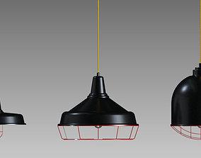 Industrial Lamp Light Set Three Pieces 3D model