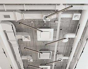 Decorative ceiling - Ventilation system set 01 3D model