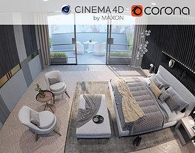 3D Corona - C4D Scene files - Luxury Bedroom Apartment