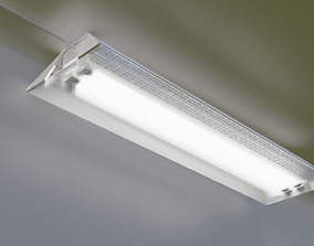 Fluorescent Light with Cord and Plug 3D model