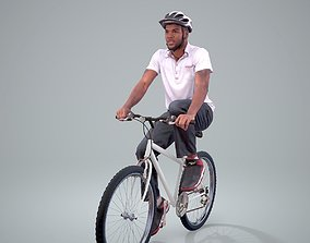 Man Wearing Pink Polo T-Shirt on a Bicycle 3D