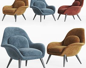 3D Swoon Lounge Fredericia Furniture leather