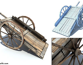 Low Poly Wild West Cart 3D asset