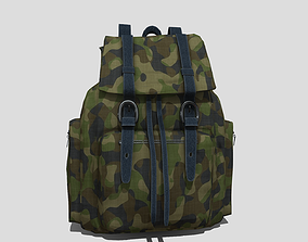 3D asset Military camouflage backpack