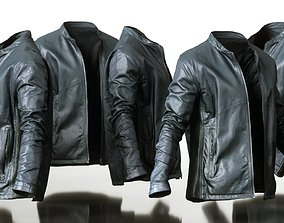 3D model Mens Clothing Black Leather Jacket Open