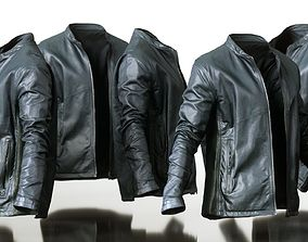 3D model Mens Clothing Black Leather Jacket Open