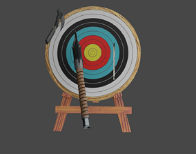 Axe throwing Board 3D Model with Weapons Free animated
