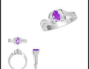 Color stone rings for women jewelry 3D print model 1