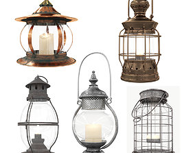 3D Collection of vintage lamps