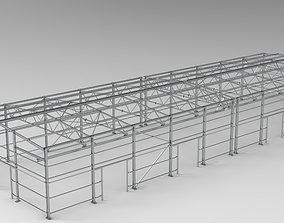 Little factory with steel construction 3D asset