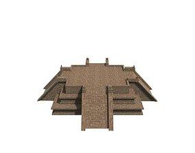 3D asset VR / AR ready Mayan Temple