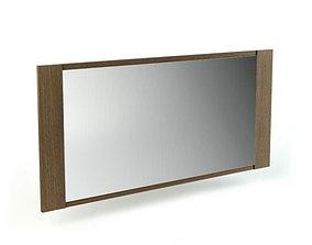 3D Dark Wood Wide Rectangle Mirror