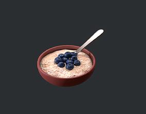 Porridge with Blueberries 3D asset