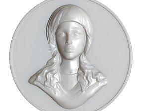 3D print model Maria Virgin Cameo Brooche 002