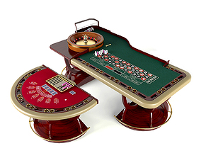 Baccarat and roulette casino tables 3D