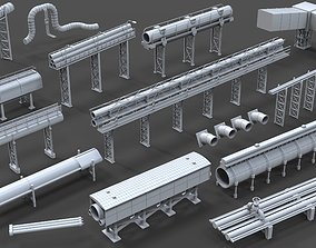 Industrial Pipes - 15 pieces 3D model