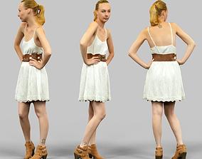 White dress Girl Posing 3D asset