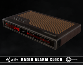 Vintage Radio Alarm Clock 3D asset