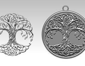 relief 3D print model Tree of life pendant