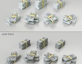 3D model Set of stacks of bundles of one hundred dollar