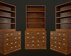 3D asset Card File Cabinet - PBR Game Ready