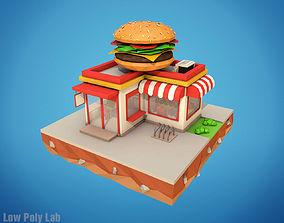 Cartoon Burger Cafe 3D model