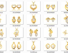 41 Pendant Earrings Set 3dm 4 view render details