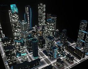 3D asset Skyscrapers Pack 01