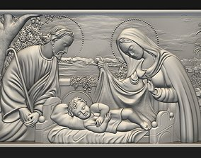 3D print model Jesus Birth with Mary and Joseph bas relief