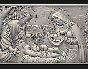 3D printable model Jesus Birth with Mary and Joseph bas