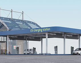 EV charging station model 3D