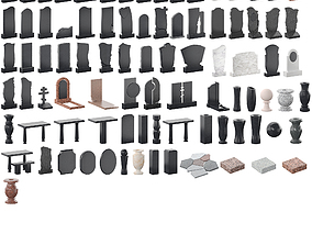 3D Gravestones - 86 models crosses
