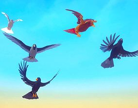3D asset Poly Art Ravens and Crows