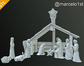 Birth of Jesus or Manger Scene or 3D print model 3