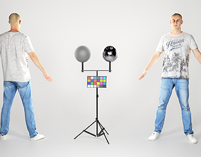 3D model Handsome young man in a white t-shirt and jeans 2