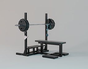 Flat Bench with Loaded Olympic Barbell - Gym 3D model