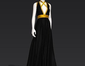 3D model Woman black gown