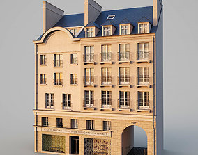 Paris building with passage 3D asset