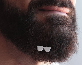 Sunglasses for beard - front wearing 3D print model
