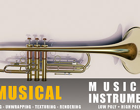 3D model trumopet instruments full detail low poly and 1