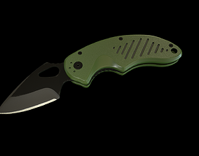 3D asset low-poly Tactical Knife - mid poly