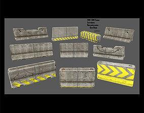 3D asset low-poly barrier set 1