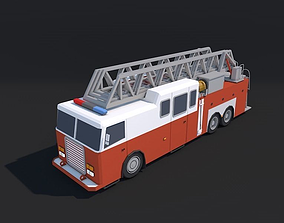 Low Poly Fire Truck 3D model low-poly