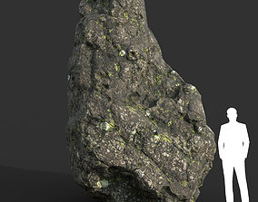 Low poly Damaged Lichen Rock 09 190907 3D model