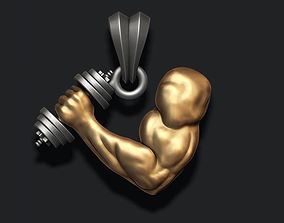 muscle arm with barbell pendant 3D printable model