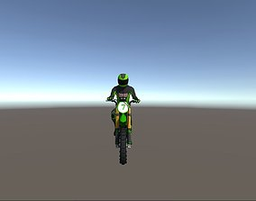 Low Poly Dirt Bike With Rider-4 3D asset