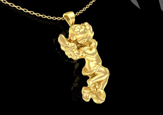 Baby Angel Pendant Jewelry Gold 3d Print Model