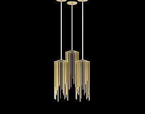gold 3D model chandelier array
