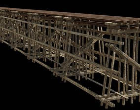 Wood trestle bridge 3D model realtime