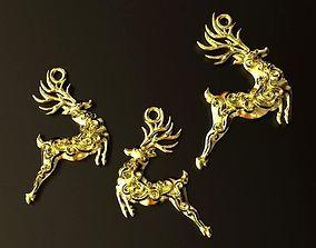 Reindeer Pendant and Earrings set 3D print model